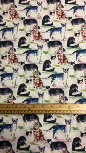 Cuarto gordo estimado Stella agua color Gatos 100/% Cotton Quilting fabric