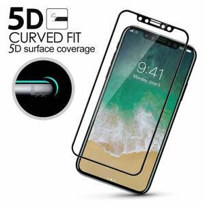 new product 1c994 92818 Details about Fit For Apple iPhone X 5D Curved Full Cover Tempered Glass  Screen Protector