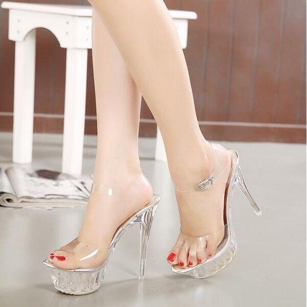 sandalias de mujer tacón 14 cm elegantes aguja plataforma transparente CW359