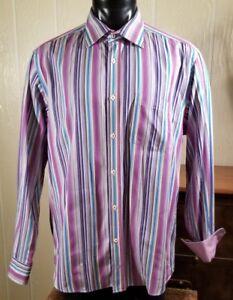 Bugatchi-Uomo-Men-039-s-Flip-Cuffs-Fuchsia-Striped-Dress-Cotton-Shirt-Sz-XL