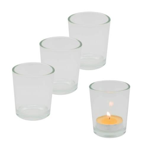 Teelichthalter aus Glas zum selbst gestalten Kerzenständer Variantenwahl 4 Stk