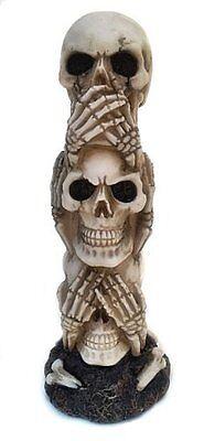 The Hear-no, See-no, Speak-no Evil Skull Statue Sculpture Figure Skeleton