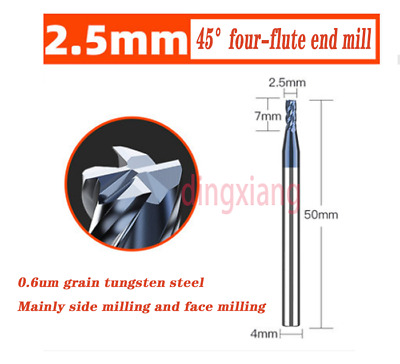 Tungsten Steel Cemented Carbide 90/° 2 Flute Precise Durable High Hardness Chamfer End Mill for Machine Tools 860L