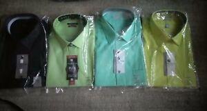 Van Heusen men dress shirts, long sleeve, no iron, lux sateen pink green blue