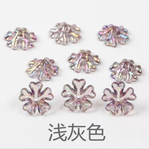 50pcs Acrylic Transparent Colorful Flower Beads Jewelry Making Hair Ornament DIY