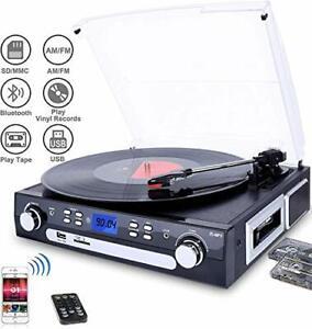 Digitnow! Bluetooth Plattenspieler mit Stereo Lautsprecher, turntable für Vinyl zu