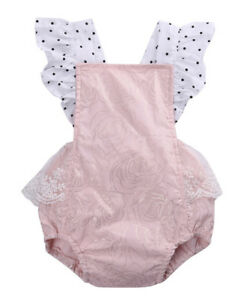 95b75cc75f NEW Baby Girls Boutique Pink Gold Rose Ruffle Lace Romper Sunsuit ...