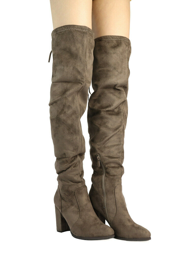 Dream Pairs Women 7.5 Shoo MULTI-WEAR Khaki Brown Over The Knee High Heel Boots