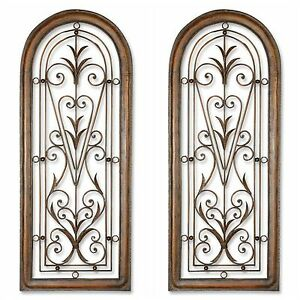 Details About Pair Xl 50 Farmhouse Restoration Decor Arched Forged Metal Wall Art Window