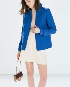 Zara Front Small Zipped Jacket Smart Størrelse Colbolt Blue 4fxqSUn4wr
