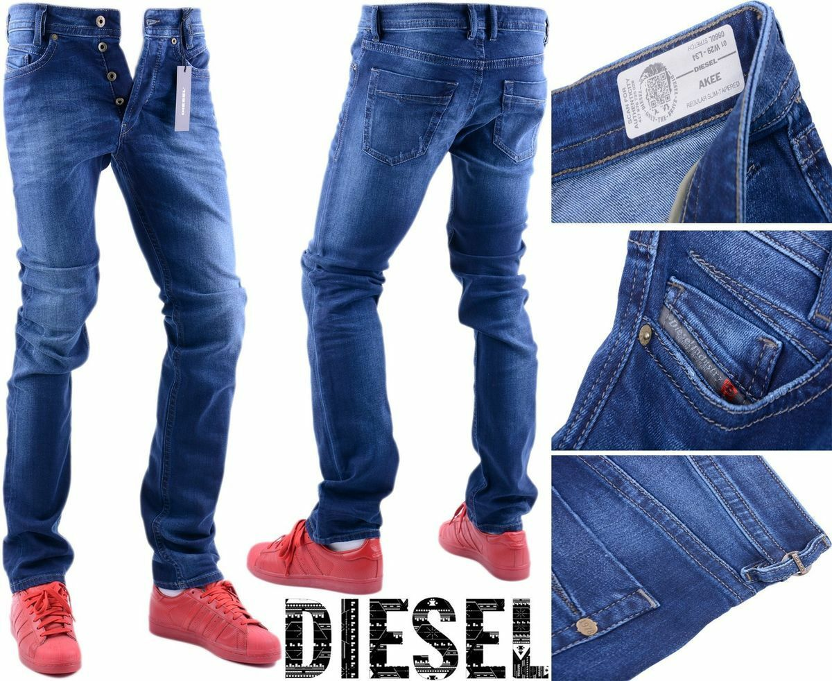 DIESEL AKEE 0860L W29 L34 Mens Denim Jeans Stretch Regular Slim Taperot Leg