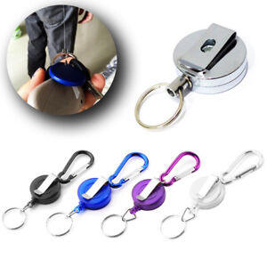 Stainless-Retractable-Pull-Chain-ski-Holder-Reel-Recoil-Key-Ring-Belt-Clip-Kzs