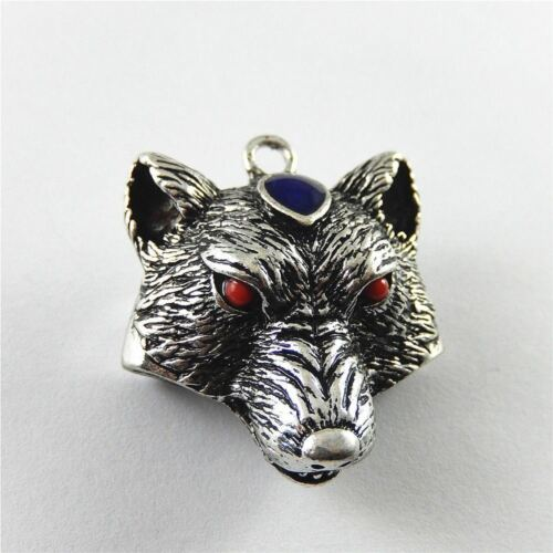 Antiqued Silver Zinc Alloy Wolf Head with Crystal Pendant Charms Jewelry 4pcs
