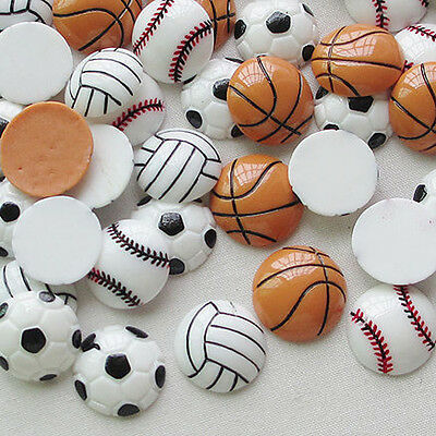 20pcs Tennis Ball Basketball Football Volleyball Resin Flatbacks Craft Lots Upik