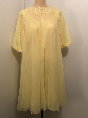 Vtg.1950's Vanity Fair Peignoir Nightgown Set Chif