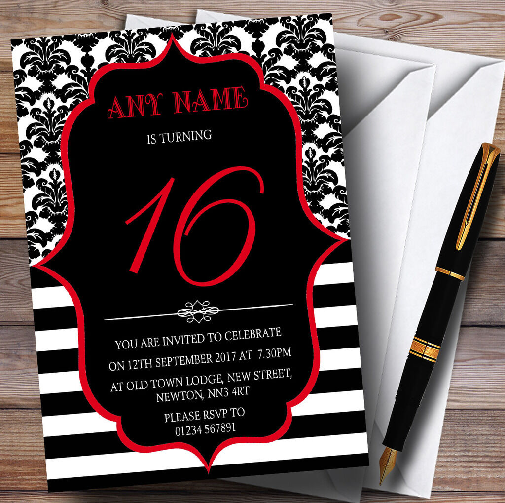 Vintage Damask rot 16th Personalised Birthday Party Invitations