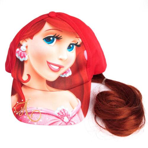 Disney Princess Little Mermaid Ariel Baseball Cap with Faux Red Hair  NWT