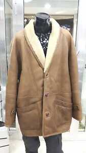 Sheepskin-shearling-Man-Vintage-Ages-80-90-Used-Bonded-Size-56-Brown-Leather