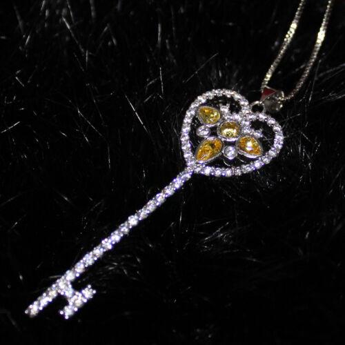 Marque de bijoux argent 925 cœur fleur Clé Pendentif Link Chaîne Collier Tour de cou