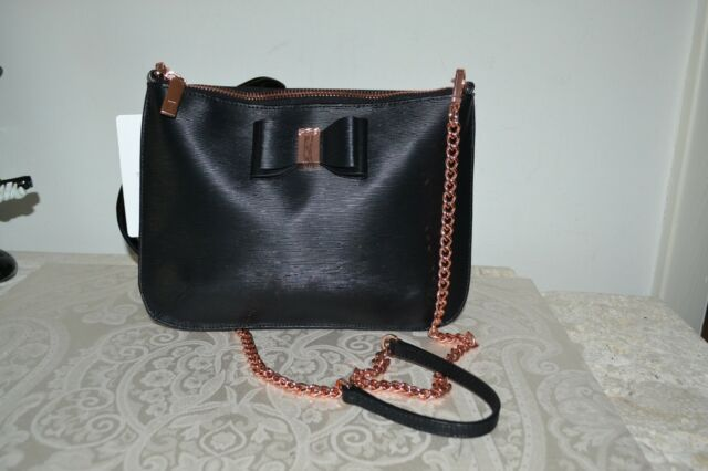 734dd9e025 NWT $129 TED BAKER Caisey Bow Detail Black Leather Crossbody Bag Rose Gold  Chain