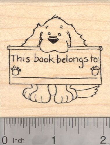 Dog Bookplate Rubber Stamp This book belongs to J3703 WM