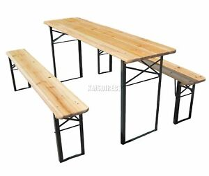 WestWood-Outdoor-Wooden-Folding-Beer-Table-Bench-Set-Trestle-Garden-Steel-Leg