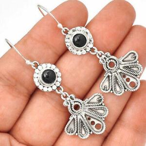 Black-Onyx-925-Sterling-Silver-Earrings-Jewelry-EE60043