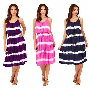 Pistachio-Tie-Dye-Print-frill-Panel-Strappy-Ladies-Beach-Midi-Dress
