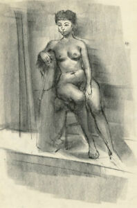 Peter Collins ARCA - c.1970s Charcoal Drawing, Sitting Life Model