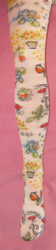 "Ladies 8-12 kitsch White Printed /"" Kiss /& Pear/"" pattern tights"