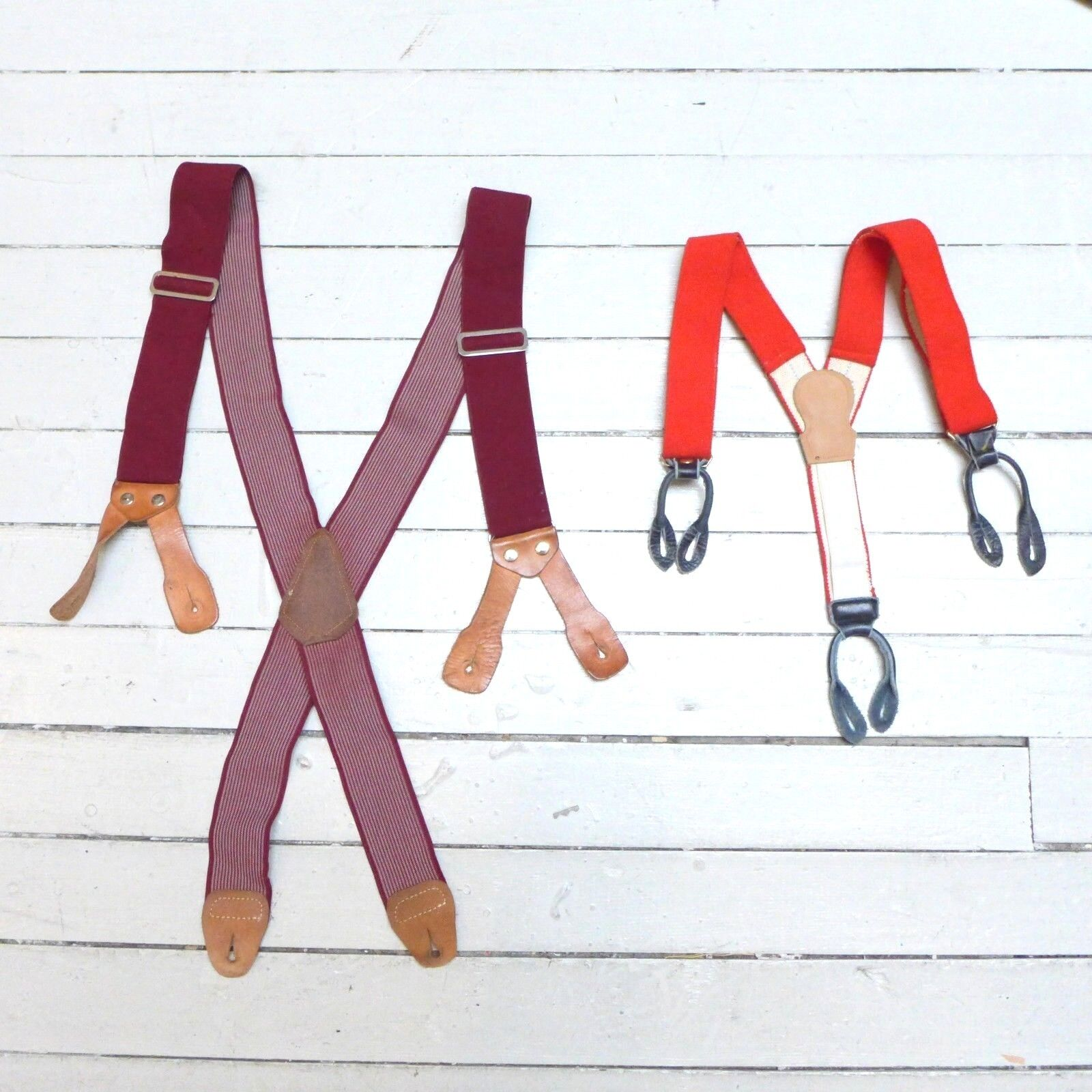 #21 Lot of 2 Vintage Dress Style Mixed Red Themed Wide Band Suspenders (GOOD)