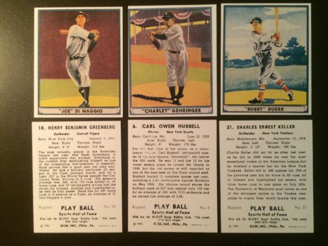 1941 Play Ball Mlb Reprint Baseball Cards One Card For