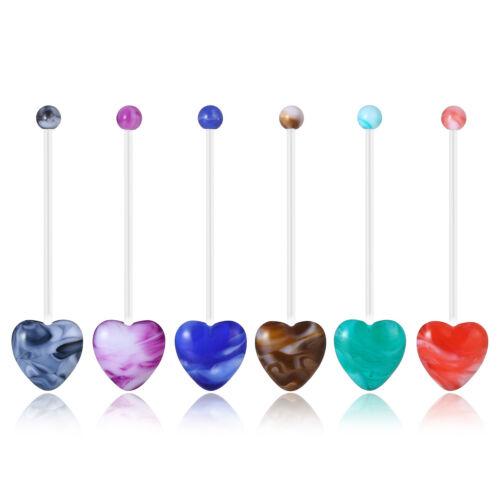 Mixed Color 14G Flexible Acrylic Bioflex Retainer Ball Navel Belly Button Ring