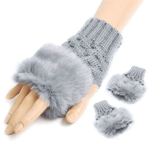 Colour Choice UK New Ladies Faux Fur Trim Knitted Fingerless Gloves Mittens
