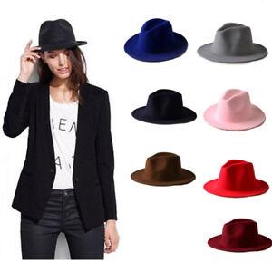Details about Fashion Retro Men Women Wool Felt Jazz Panama Derby Wide Brim Fedora Hat Cap