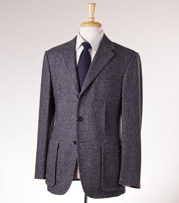 NWT 3295 D'AVENZA Charcoal grau Woven Tweed Wool Blazer 38 R Sport Coat (Eu 48)