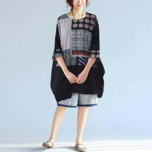 Women Batwing Sleeve Shirt Dress Polka Dot Loose Blouse Oversize Shirt Tops Plus