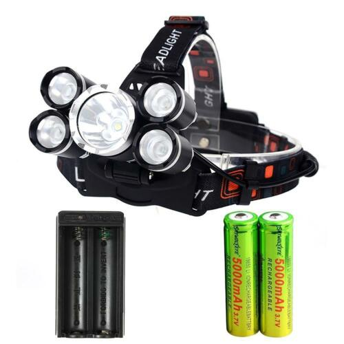 80000 LM 5X T6 LED USB Lampe frontale 2X 18650 Chargeur torche à phare EH