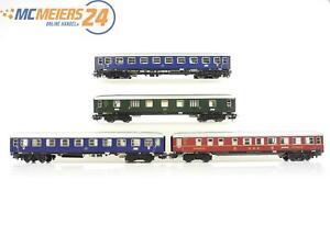 E16D15-Maerklin-H0-4x-Personenwagen-Speisewagen-Gepaeckwagen-DB-Licht-geprueft