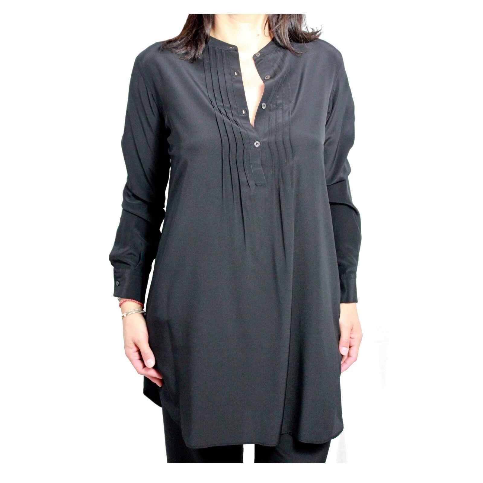 ASPESI Damenhemd lang schwarz mod H701 B753 100% Seide