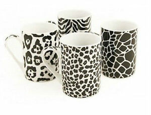 Set of 4 porcelain black white animal leopard zebra print for Thermos fenetre