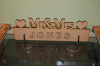 Entusiasta Mr & Mrs Decorazione Tavola Top Matrimonio Segno Personali (vernice Te Stesso) Fai Da Te Sposa-