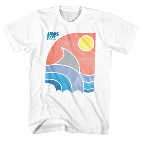 Jaws T-Shirt Distressed Faded Color 1975 White Tee