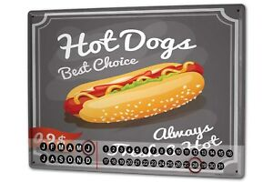 Perpetual-Calendar-Kitchen-Hot-Dog-Tin-Metal-Magnetic