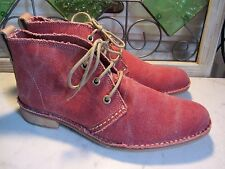 NEW BUSSOLO SEVILLA CORAL CANVAS LOW HEEL CHUKKA LACE UP ANKLE BOOTS WOMEN'S 9.5