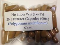 He Shou Wu Fo-ti Extract 20:1 High Quality Vegan Capsules 60 Ct.
