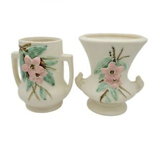 2 McCoy (Marked) Ceramic Vases Urn - Blossom Time - Matte White - Vintage  1940s