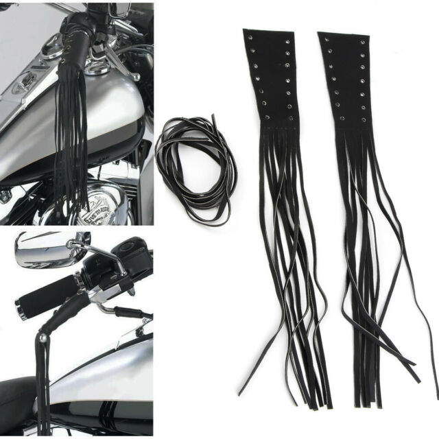 """Motorcycle 12/"""" Lace-up PU Leather Brake Lever Covers Biker Clutch Fringe Tassels"""