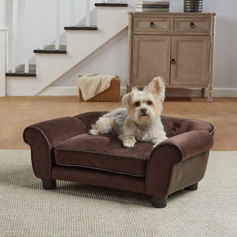 Enchanted Home Pet Brown Ultra Plush Cleo Pet Sofa, 28.38  L x 17.38  W