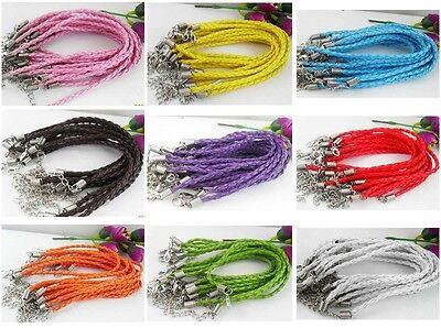 Wholesale Lot 10pcs Mixed Color Twist Leather Cord Rope Bracelets Bangle Fashion